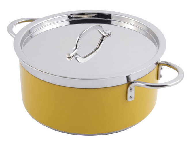 1.9Liter 2 Quart 18cm Stainless Steel Casserole With Stainless Steel Cover - Yellow