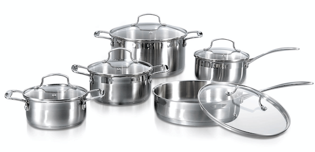 10 Piece Encapsulated Stainless Steel Cookware Set Straight Shape Casting Handle