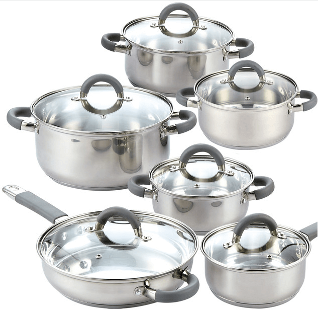 12-Piece Stainless Steel Cookware Set With Hollow Rubber Handle