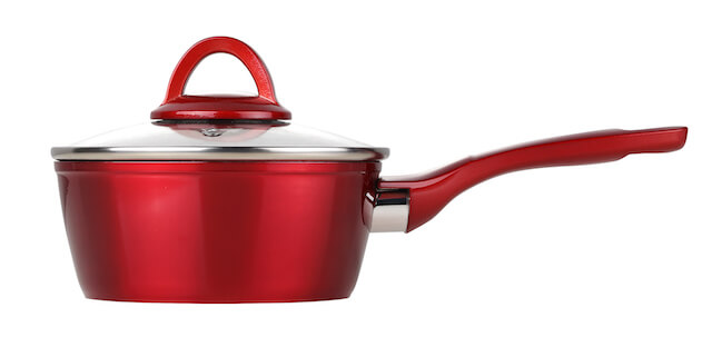16cm Metalic Red Non Stick Forged Aluminum Sauce Pot With Soft Touch Handle