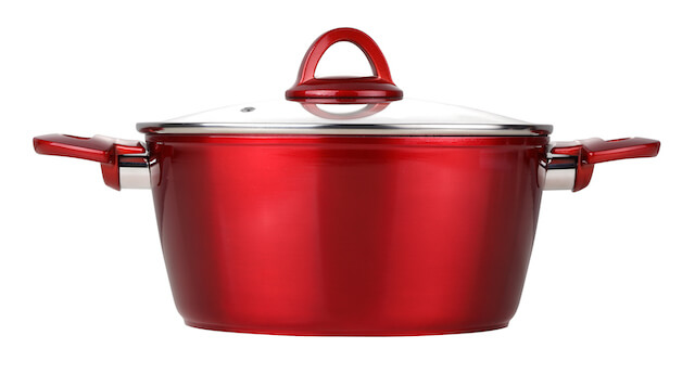 10 QT Non-stick Forged Aluminum Casserole With Glass Cover - Metallic Red