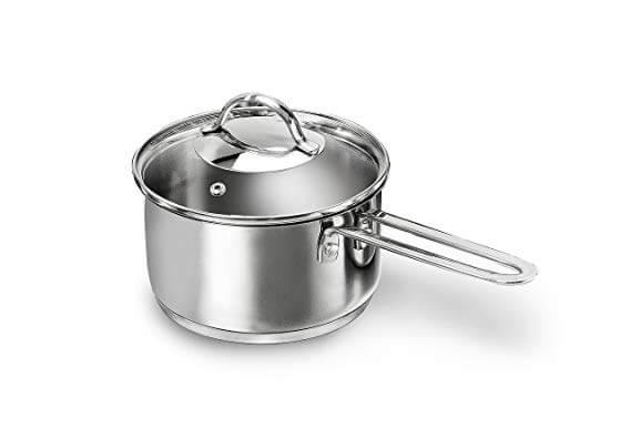 index 16cm Stainless Steel Saucepan With Glass Lid Welded Wire Handle