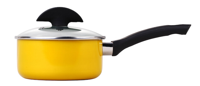 20cm Press Alu Non Stick Saucepan With Clear Glass Lid - Yellow