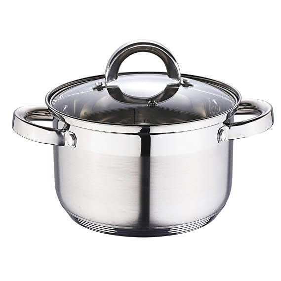 20cm 2-Tone Stainless Steel Casserole With Glass Lid 5 Step Bottom Protector