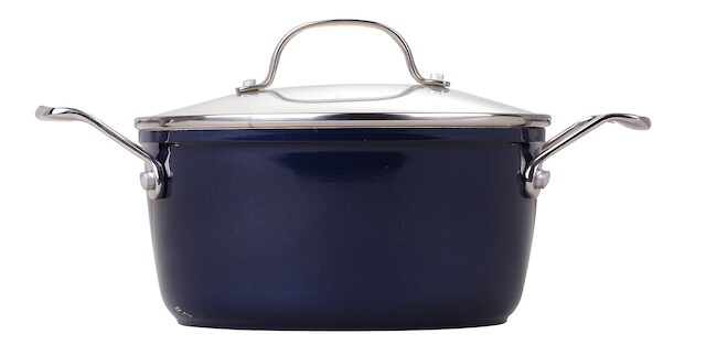 24cm Ceramic Non Stick Coating Casserole With Stainless Steel Casting Handle - Dark Blue