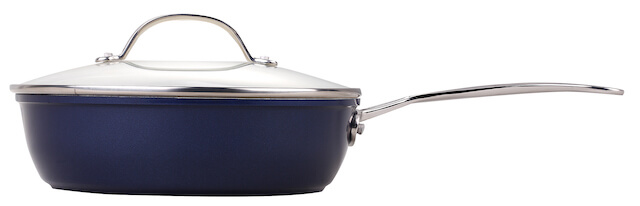24cm Forged Non Stick Sauté Pan Deep Frying Pan With Stainless Steel Casting Handle - Blue