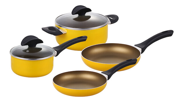 6 Pieces Pressed Alu Basic Cookware Set With Spining Bottom - Yellow