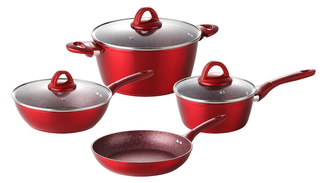 7piece Forged Non Stick Aluminum Cookware Set Metallic Red Color With Matching Handle & Coating