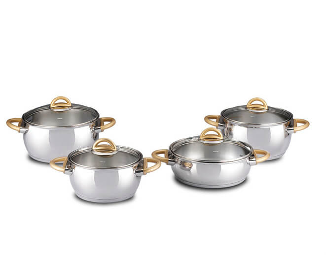 8pcs Apple Shaped Casserole Set - Stainless Steel Induction Ready