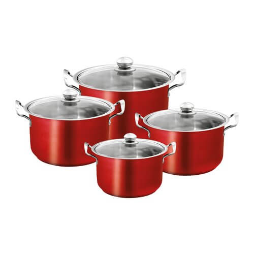 8pcs Stainless Steel Casserole Set - Metallic Red