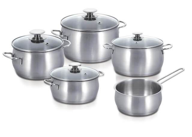 9 Piece Stainless Steel Cookware Set Apple Shape Capsule Bottom