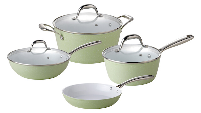 Aluminum Cookware Set With Non Stick Ceramic Coating & Casting Handle - Light Green