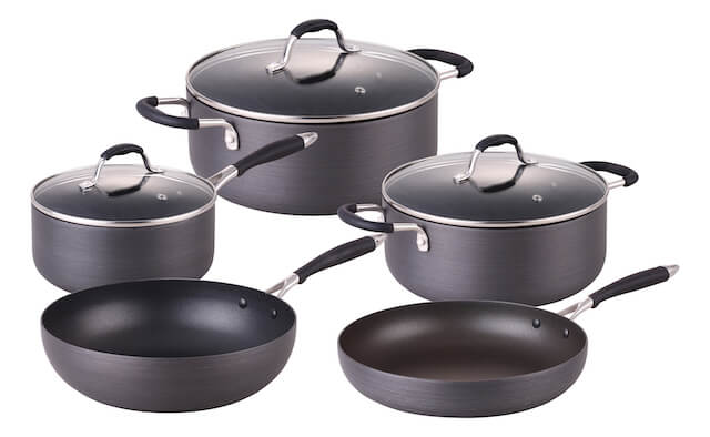 Pressed Aluminum Hard Anodize 8pcs Non-Stick Cookware Set With Silicon Handle
