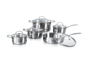 index 10 Piece Encapsulated Stainless Steel Cookware Set Straight Shape Casting Handle