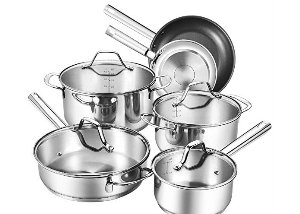 index 10pcs Stainless Steel Cookware Set With Tempered See-Through Cover