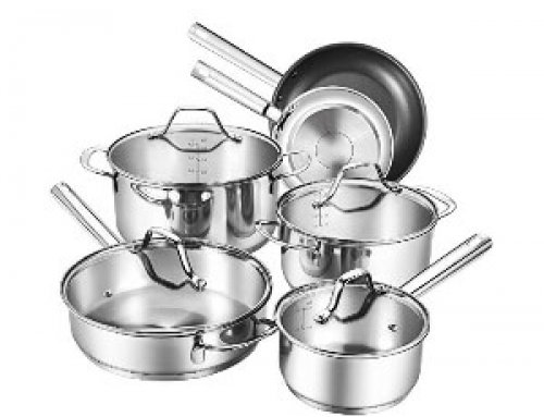 10pcs Stainless Steel Cookware Set With Tempered See-Through Cover