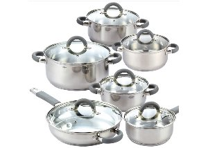index 12-Piece Stainless Steel Cookware Set With Hollow Rubber Handle