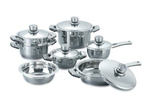 index 12pcs Popular Wide Rim Stainless Steel Cookware Set With Thermal Knob