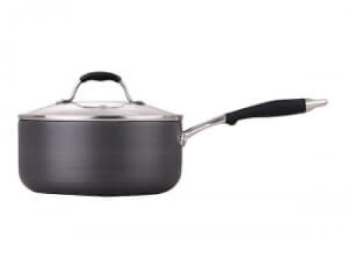 18cm 2.6L Hard Anodized Saucepan With Glass Lid
