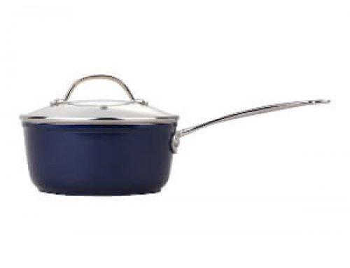 18cm Forged Aluminum Ceramic Coating Saucier With Casting Handle – Dark Blue