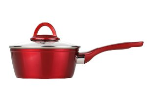 index 16cm Metalic Red Non Stick Forged Aluminum Sauce Pot With Soft Touch Handle