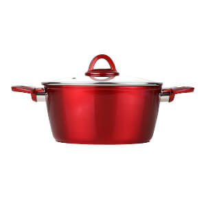 index 10 QT Non-stick Forged Aluminum Casserole With Glass Cover - Metallic Red