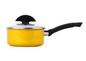 index 20cm Press Alu Non Stick Saucepan With Clear Glass Lid - Yellow