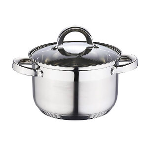 index 20cm 2-Tone Stainless Steel Casserole With Glass Lid 5 Step Bottom Protector