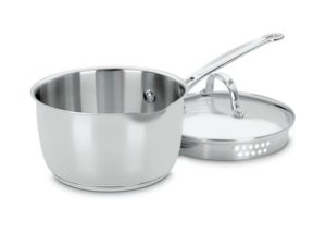 index 4.1L 20cm Stainless Steel Saucepan With Pouring Spout & Draining Glass Lid