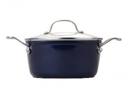 24cm Ceramic Non Stick Coating Casserole With Stainless Steel Casting Handle – Dark Blue