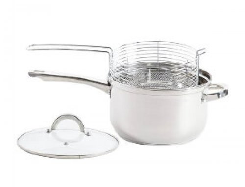 24cm Stainless Steel Chip Pan Deep Fryer With Lid & Frying Basket