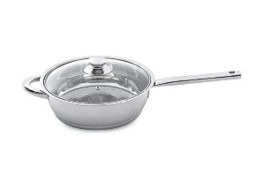 index 9.5 inch 24cm Stainless Steel Grill Pan With Stainless Steel Hollow Handle & Glass Lid