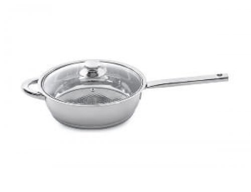 9.5 inch 24cm Stainless Steel Grill Pan With Stainless Steel Hollow Handle & Glass Lid
