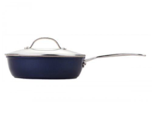 24cm Forged Non Stick Sauté Pan Deep Frying Pan With Stainless Steel Casting Handle – Blue