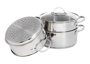 index 3pcs 24cm Stainless Steel Steamer Set - Induction Stovetop Workable