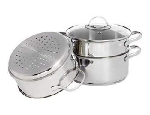 3pcs 24cm Stainless Steel Steamer Set – Induction Stovetop Workable