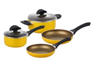 index 6 Pieces Pressed Alu Basic Cookware Set With Spining Bottom - Yellow