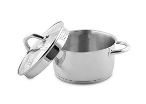 6.1L 24cm Stainless Steel Stockpot With Pouring Spout & Draining Glass Lid