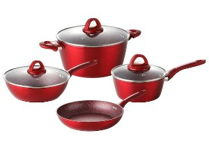 index 7piece Forged Non Stick Aluminum Cookware Set Metallic Red Color With Matching Handle & Coating