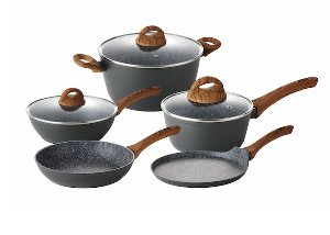 index 8pcs Forged Aluminum Non-stick Cookware Set With Wooden Color Soft Touch Handle + Marble Coating dark Grey