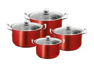 index 8pcs Stainless Steel Casserole Set - Metallic Red