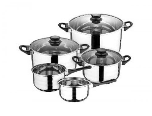 8pcs Stainless Steel Cookware Set Black Bakelite Handle Induction Suitable