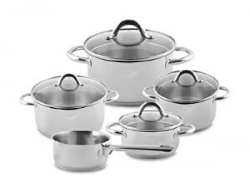 9pcs S/Steel Cookware Set With Pouring Spout & Draining Lid