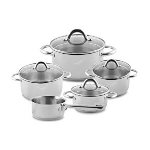 index 9pcs S/Steel Cookware Set With Pouring Spout & Draining Lid