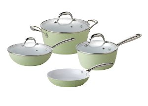 index Aluminum Cookware Set With Non Stick Ceramic Coating & Casting Handle - Light Green