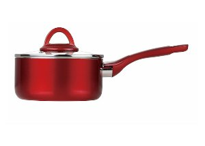 index Covered Aluminum Nonstick Saucepan With Soft Touch Handle - Metallic Red