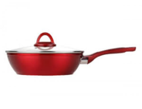 Metallic Red Non Stick Forged Gourmet Wok With See Through Glass Lid