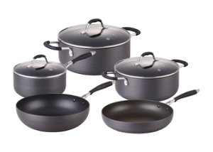 index Pressed Aluminum Hard Anodize 8pcs Non-Stick Cookware Set With Silicon Handle