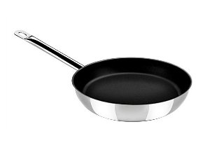 "index 9.5"" Stainless Steel Non Stick Open Skillet With Metal Hollow Handle"